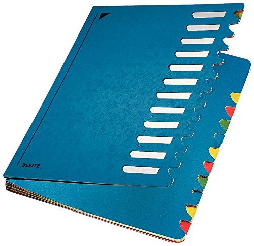 Leitz Pultordner, A4, 12 Fächer, Farbige Trennblätter, 3 Sichtlöcher, Karton, Blau, 59120035