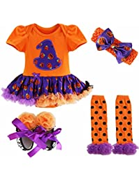 FEESHOW Costume Barboteuse + Bandeau + Jambières + Chaussures pour Bébé Fille 0-9 Mois