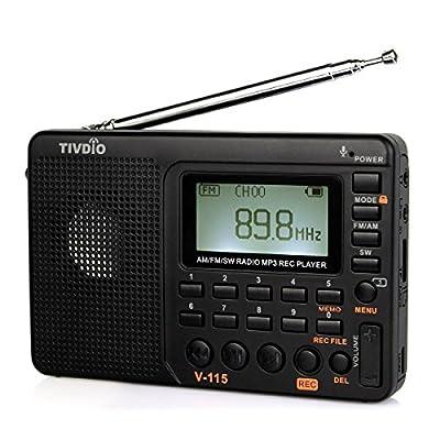 Retekess V115Portable AM FM Radio avec Radio à Ondes Courtes Transistor Lecteur MP3–Noir de Retekess