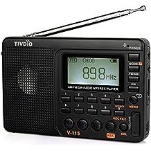 Tivdio V-115 Radio Portátil Digital (FM/SW/MW/LW) Radio Transistor Bolsillo con Batería Recargable y Tira de Mano con Soporte (Negro)
