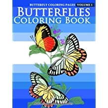Butterfly Coloring Pages - Butterflies Coloring Book: Volume 1 (Butterfly Coloring Books For Adults)