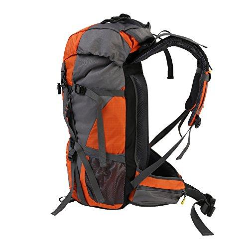 Escursione all'aperto 45L + 5L Zainetto impermeabile alpinismo con copertura a pioggia per arrampicata Caccia Camminare in viaggio, Lightweight Daypack escursionistico pieghevole e imballabile. (aranc arancione