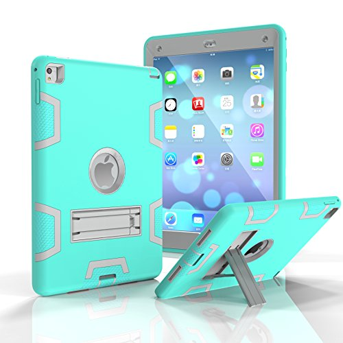 iPad Air 2 Hülle iPad 6 Case darmor Shop [Heavy Duty] [Standfunktion] PC + Silikon Hybrid Schutz Drei Schicht Armor Defender Full Body Schutzhülle für iPad Air 2/iPad 6, Aqua&Gray - 2 Ipad Griffin Apple Air Case