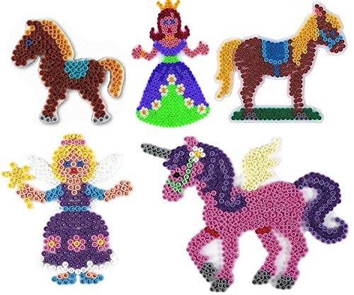 Hama Midi Stiftplatten Set 25 - Auf dem Ponyhof Set - Pferd,Pony,Einhorn ,Fee,Prinzessin + 100 Gratis Perlen