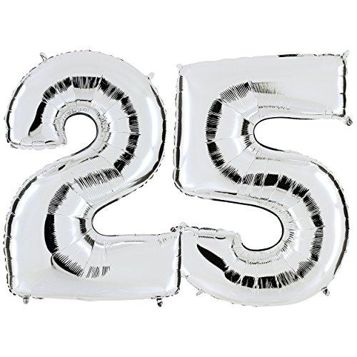 PartyMarty Ballon Zahl 25 in Silber – XXL Riesenzahl 100cm – zur Silberhochzeit oder zum 25. Geburtstag – Party Geschenk Dekoration Folienballon Luftballon Happy Birthday Jubiläum GmbH®