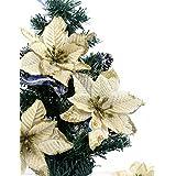 Bei wang Lot de 6 fleurs artificielles pourarbres de Noël décoratifs de 13 cm en soie or, fleurs artificielles Poinsettia Bush et Red Bush, doré, taille unique