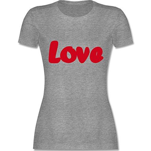 Romantisch - Love - tailliertes Premium T-Shirt mit Rundhalsausschnitt für Damen Grau Meliert