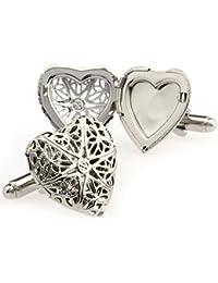 Covink® Anillo de plata de la cruz del Celtic de la cruz del v Comunicados Gemelos del marco de la foto del corazón ahuecado tallado