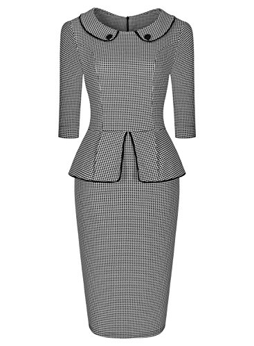 Miusol Vintage Manches 3/4 Robe crayon Peplum cocktail Houndstooth 1950's Business contract Robe Size S-XXL Gris