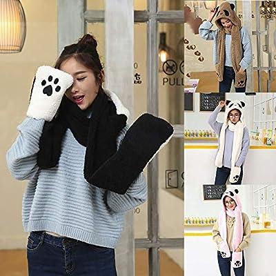 CLOOM Damen Winter Schal Panda-Muster 3-in-1 Fashion Multifunktions-Schal(Mütze,Handschuhe) Weiche Dicke Warm Schal Handschuh-Schal Plüschmütze Tiermütze Plüschtier Kapuzenschal Ohren Schal