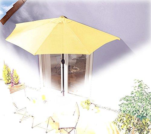Sonnenschirm gelb mit Kurbel – halbrund