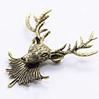 3 FOR 2 Sale! 6 cm Antique Bronze Stag Deer Broach Pin for Jacket or Collar, Unique Gift Luxury Accessories Animal Fashion (Antique Stag Head Brooch)