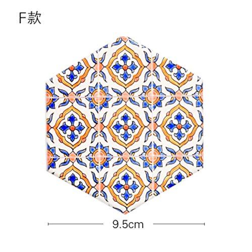 JJFJJ Untersetzer Keramik Tasse Untersetzer Kreative Geometrische Drucke Kork Holzboden Wärmeisolierte Pad rutschfeste Tischsets Geschirr, F -
