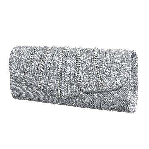 Damen Tasche, Kleine Schultertasche Clutch, Satin, TA-HD374 Silber