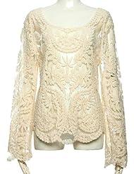T-shirt Femme beige style rétro et floral avec dentelle et manches longues 3811