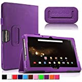 Acer Iconia One 10 B3-A30/A3-A40 Funda Case, Infiland Folio PU Cuero Cascara Delgada con Soporte para Acer Iconia One 10 B3-A30 Tablet 10.1 Inch/ Acer Iconia Tab 10 A3-A40 10.1 Inch Display Guard Tablet, Púrpura
