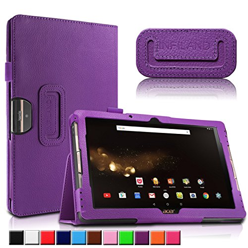 Acer Iconia One 10 B3-A30/A3-A40 Hülle, Infiland Slim Fit Folio PU-lederne dünne Kunstleder Schutzhülle Cover Tasche für Acer Iconia Tab 10 (A3-A40) 25,6 cm (10,1 Zoll Full HD) Tablet-PC/ Acer Iconia One 10 (B3-A30) 25,7 cm (10,1 Zoll HD) Tablet-PC(Lila)