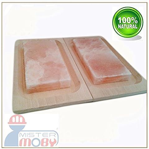 Mistermoby nr. 2 Piastre di Sale Rosa Himalayano con Piatto in Legno ideale per Cucinare e Servire Pane Carne Pesce Uova e altro