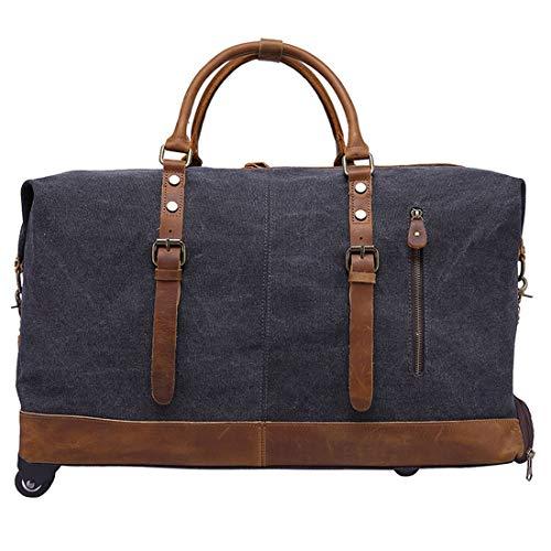 Reisetasche mit Rollen Trolleyfunktion erweiterbares Business Trolley Handgepäck für Damen und Herren, Canvas Trolley Tasche Tasche Sporttasche Stoff Koffer Handgepäck,Black