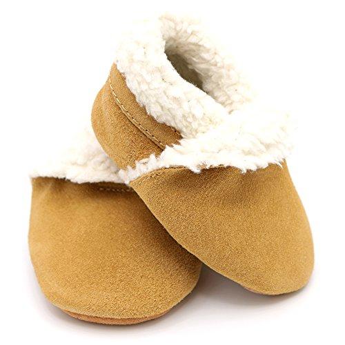 Weiche Baby und Kleinkind Wildleder Hausschuhe - Jungen und Mädchen Braun Pantoffel