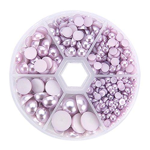 pandahall Elite - Lot de 690pcs Environ/Boite Imitation Perle ABS Acrylique Dome Cabochons, Demi Rond, Plum, 4~12x2~6mm