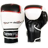TurnerMAX Rex Leder Gel Boxhandschuhe Kampf Boxsack MMA Muay Thai Grappling weiß schwarz 14oz