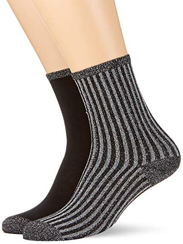 Tommy Hilfiger Damen Socken TH Women Vertical Lurex 2P, 2er Pack, Schwarz (Black 200), 39/42