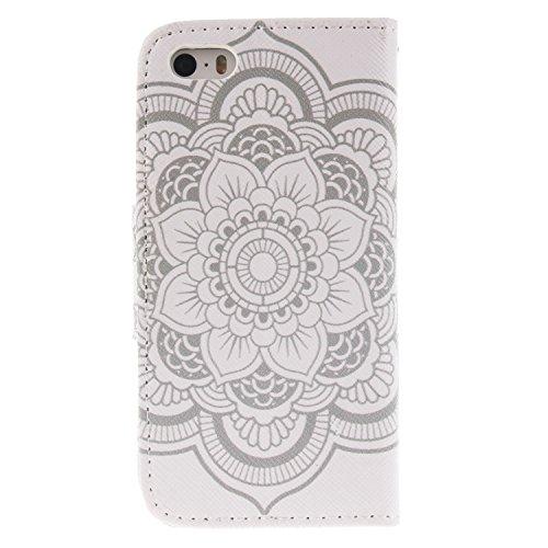 MOONCASE iPhone 5 Coque, Printing Series Case Étui en Cuir Portefeuille Housse de Protection Etui à rabat Cover pour Apple iPhone 5 / 5S / iPhone SE TX12 TX12 #0401
