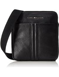 Tommy Hilfiger Business Leather Mini Flat Crossover - Sacoche bandoulière - Homme - Schwarz (Black) - 2x26x23 cm (L x H P)