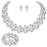 EVER FAITH® Silver-Tone Austrian Crystal Simulated Pearl Bridal Jewellery Sets Ivory Color N04466-1