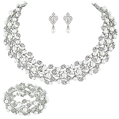 EVER FAITH® Silver-Tone Austrian Crystal Simulated Pearl Bridal Jewellery Sets Ivory Color