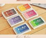 Yeah67886Lot de 6tampons encreurs Rainbow DIY coloré Craft pour une utilisation avec des Tampons en caoutchouc sur papier Bois et Tissu