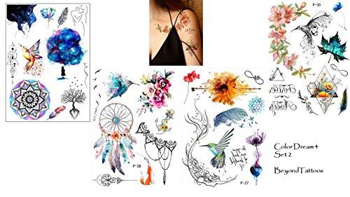 4 feuilles Eau Couleurs Effet toos Attrape-rêves Mandala fleurs oiseaux par le toos Color Dream Set 2