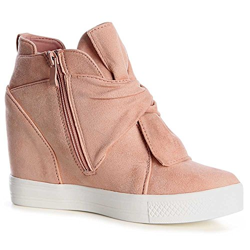 topschuhe24 1059 Damen Sneaker Keilabsatz Stiefeletten Rosa