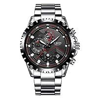 Reloj masculino, deportivo, a cuarzo, de lujo, para empresarios, Impermeable, de acero inoxidable, con cronómetro y esfera negra