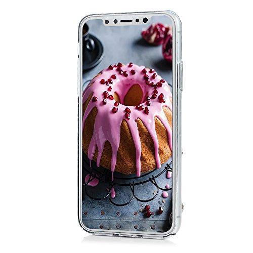 Lanveni Handyhülle für iPhone X Hülle Etui Protective Case Cover PC Hardcase Plastik Schutzhülle Handytasche mit Bunte Muster Cover Design (1x PC Hülle +1 x Kondensatorstift + 1 x HD Schutzfolie) Perlenblumen
