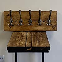 Rustic Reclaimed Wooden Coat Rack Coat Hooks Solid Wood Dark Oak Wax Colour