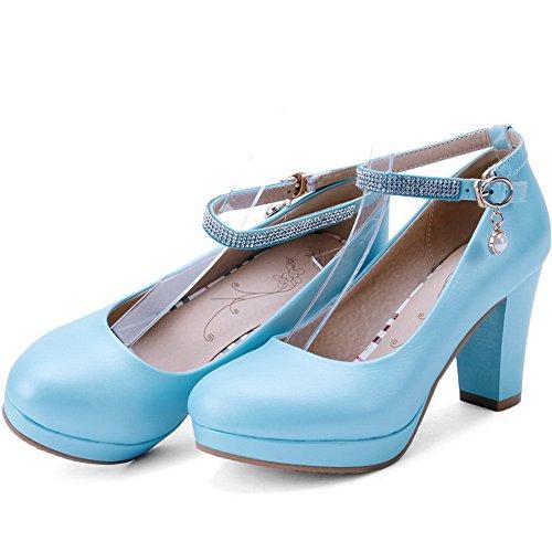 AllhqFashion Damen Pu Leder Hoher Absatz Rein Rund Zehe Schnalle Pumps Schuhe Blau