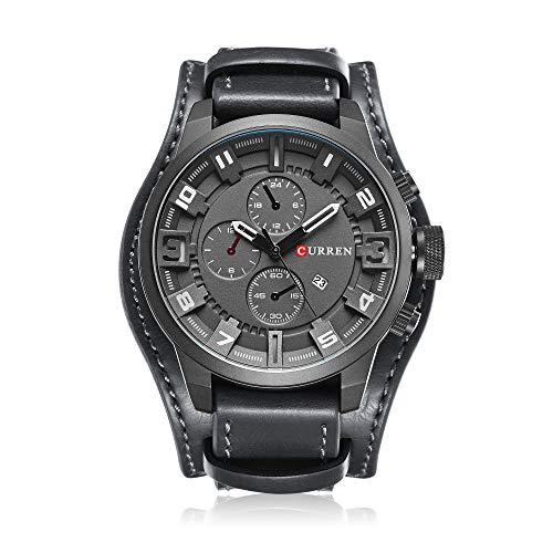 Reloj de hombre, estilo empresarial, reloj de cuarzo, fecha de visualización con banda de cuero marrón de lujo (negro gris)