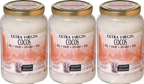 3 Gläser Cocos Öl von Amanprana à 1600 ml