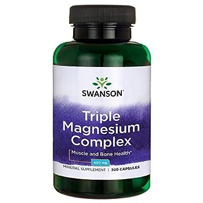 Swanson Triple Magnesium Complex Capsules, 400 mg, Pack of 300