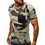 Camouflage T-Shirt Herren URSING Männer Sommer Slim Fit Kurzarm T-Shirt mit Tasche Casual Crew-Neck Tees Sportshirt Streetwear Stylische Kurzarmshirt Mode Muskelshirt Coole Sommerkleidung (L, Armeegrün)