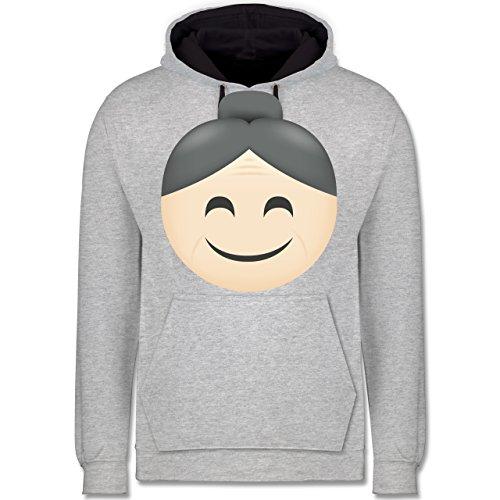 Comic Shirts - Oma Emoji - Kontrast Hoodie Grau meliert/Dunkelblau