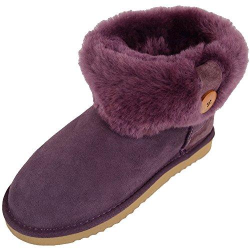 Bushga Damen Echtes Schaffell Untere Wade Rolle, die Stiefel kurz, mit Knopf Design (schwarz, Schokolade Braun, Kastanie, lila), Violett - violett - Größe: 42 2/3 - Lammfell-stiefel Schokolade