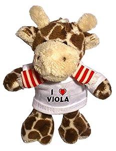 Jirafa de peluche (llavero) con Amo Viola en la camiseta (nombre de pila/apellido/apodo) de SHOPZEUS