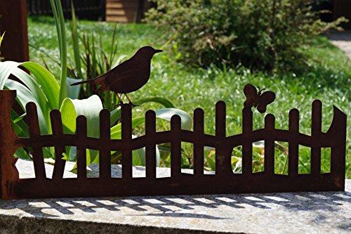 manufakt Edelrost Zaun mit Vogel 40 cm Garten Terrasse Blumenkasten Beet Rost Deko