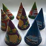 8 Partyhütchen * FAHRZEUGE * für Kindergeburtstag oder Mottoparty // Hüte Hats Bus Polizei Feuerwehr