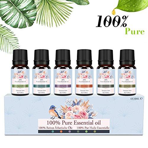 Ätherische Öle Set, Siman Duftöle für Diffuser und Aromatherapie, 100% Reines Bio naturrein Aroma-Öl, 6 Verschiedene Aromen