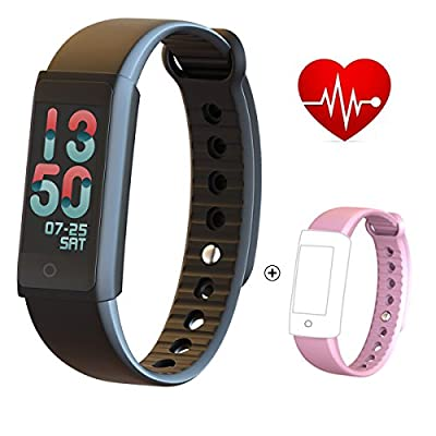 Fitness Tracker Watch HR Fitness Trackers Devices Activity Tracker IP68 Waterproof Sleep Heart Rate Monitor Calorie and Step Pedometer Blood Pressure Monitor with Remote Control Photography for Women, Ladies, Men from devekop