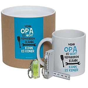 """Geschenkset / Dose """"Wenn Opa es nicht reparieren kann, kann es keiner"""" (Tasse, Mini-Wasserwaage & Zollstock)Kaffeebecher,Kaffeetasse,Geschenkidee,Geburtstagsgeschenk, Weihnachtsgeschenk, für Ihren Opa"""